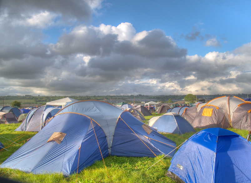 Cloudy Sky and Tents